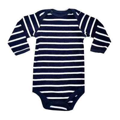 Sweet As Sugar Couture Gray/Navy Striped Onesie - 3-6M - Top