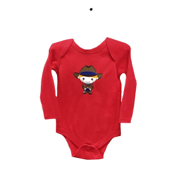 Sweet As Sugar Couture Howdy Partner Appliqued Onesie - 0-3M - Top