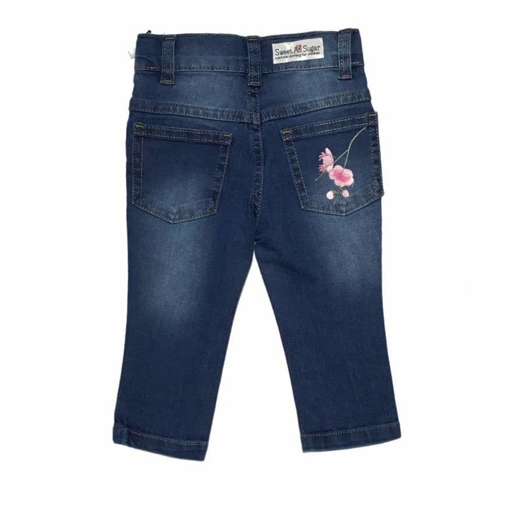 Sweet as Sugar Couture Pink Floral Applique Jeans - Bottom