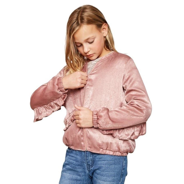 Sweet As Sugar Couture Ruffle Bomber Jacket - Top