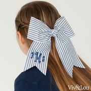 Viv & Lou Large Girls Fabric Hair Bow - Blue Seersucker - Accessory