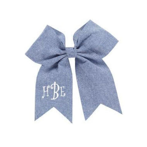 Viv & Lou Large Girls Fabric Hair Bow - Chambray - Accessory