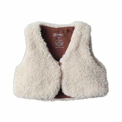 Zutano Furry Vest in Oat - 6M - Top