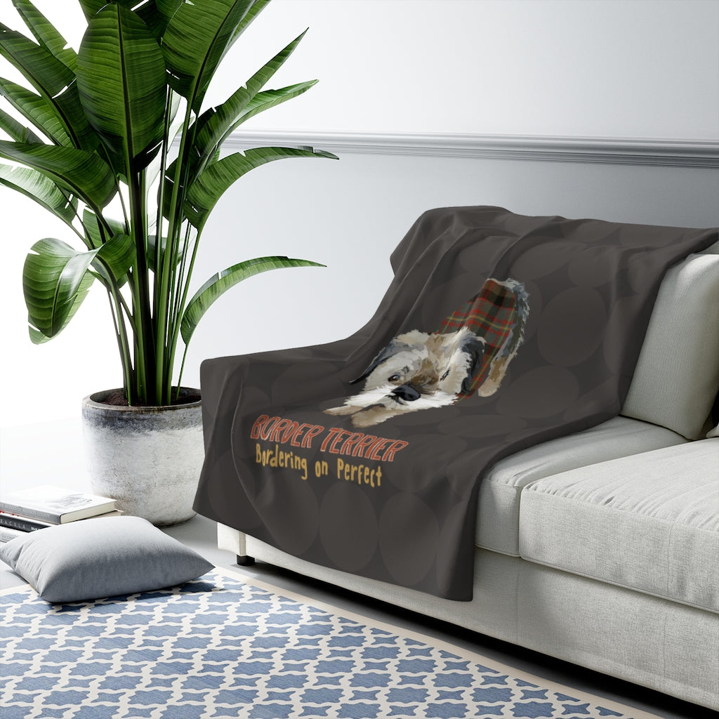 Border Terrier 'Bordering on Perfect' Sherpa Fleece Blanket