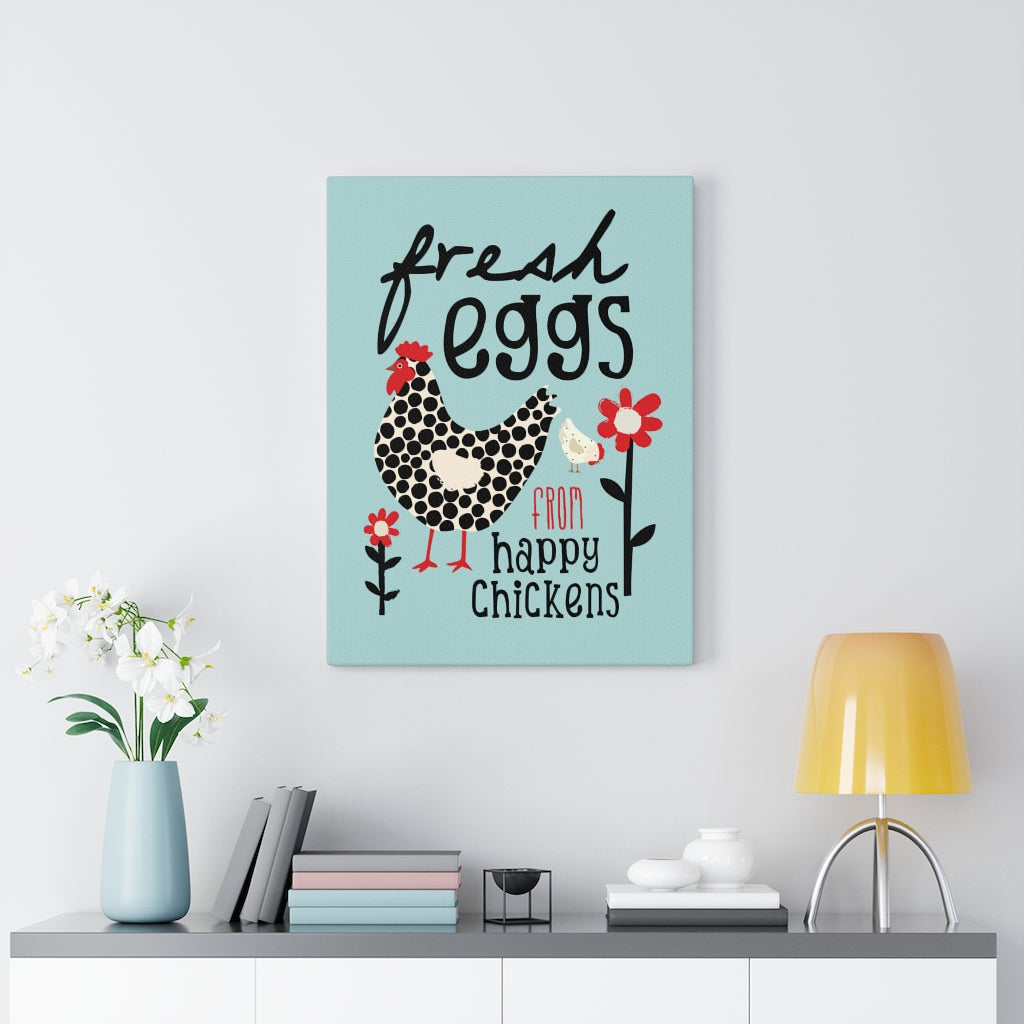 Fresh Eggs from Happy Chickens (soft blue) Canvas Gallery Wrap