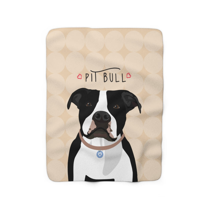 Pit Bull (black & white) Sherpa Fleece Blanket