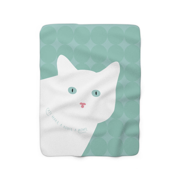 Cats Make A House A Home (white cat) Sherpa Fleece Blanket