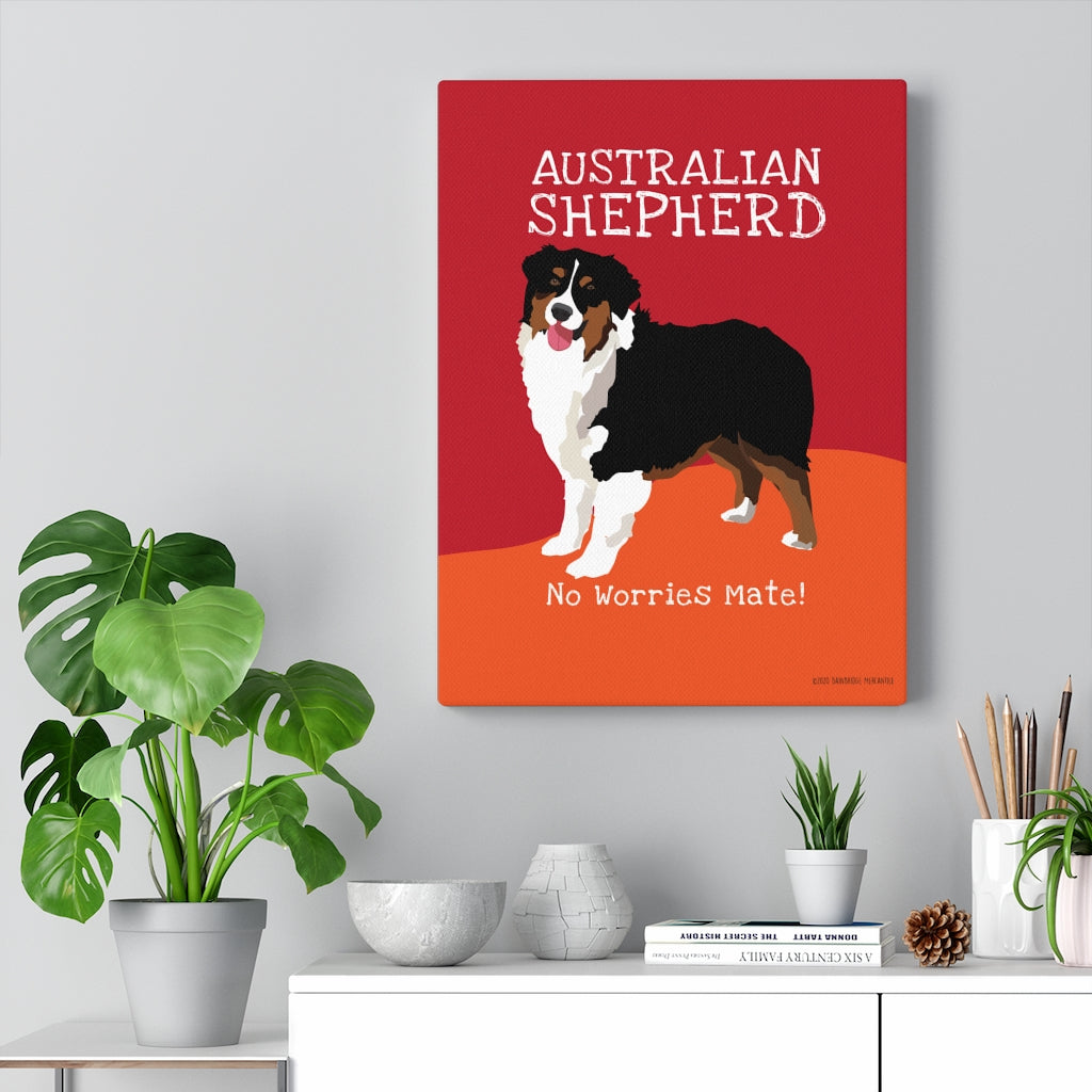 Australian Shepherd Black & Tan - Canvas Gallery Wrap