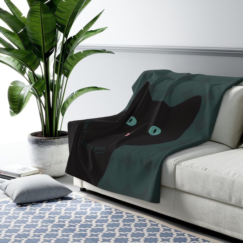 Cats Make A House A Home (black cat) Sherpa Fleece Blanket