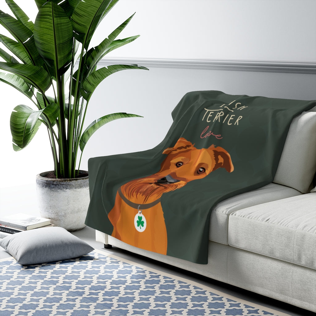Irish Terrier Love Sherpa Fleece Blanket