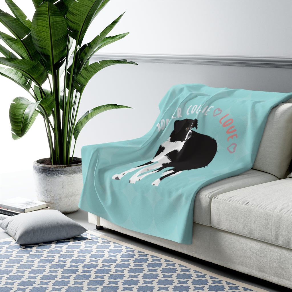 Border Collie Sherpa Fleece Blanket