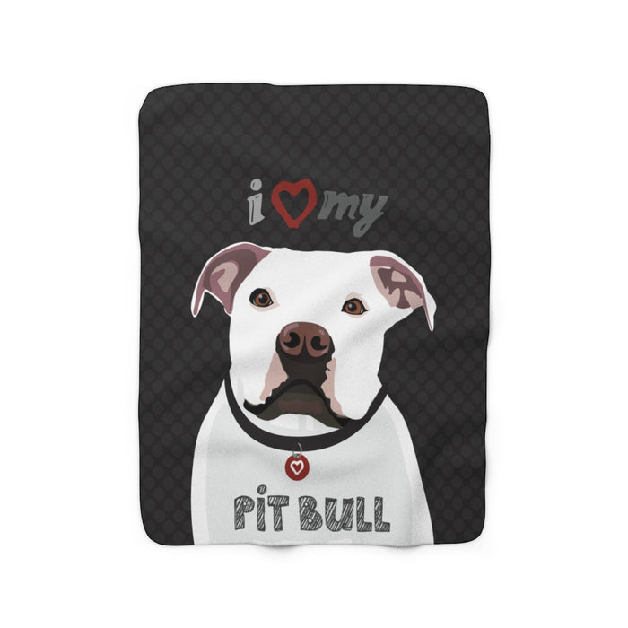 Pit Bull (white) Sherpa Fleece Blanket