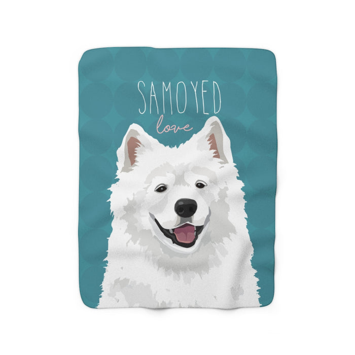 Samoyed Love Sherpa Fleece Blanket