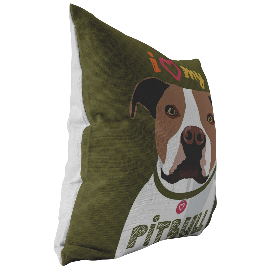 Pitbull (Brown & White Dog) Pillow