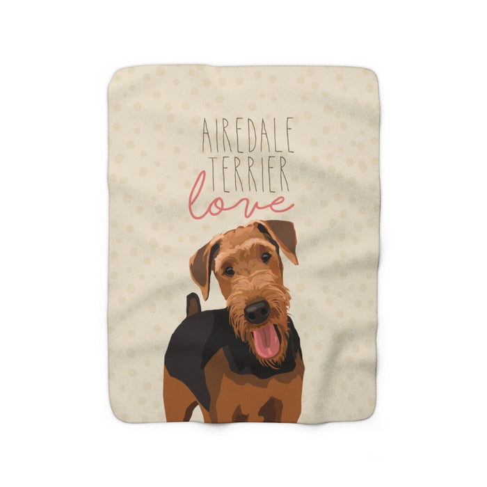 Airedale Terrier Love Sherpa Fleece Blanket