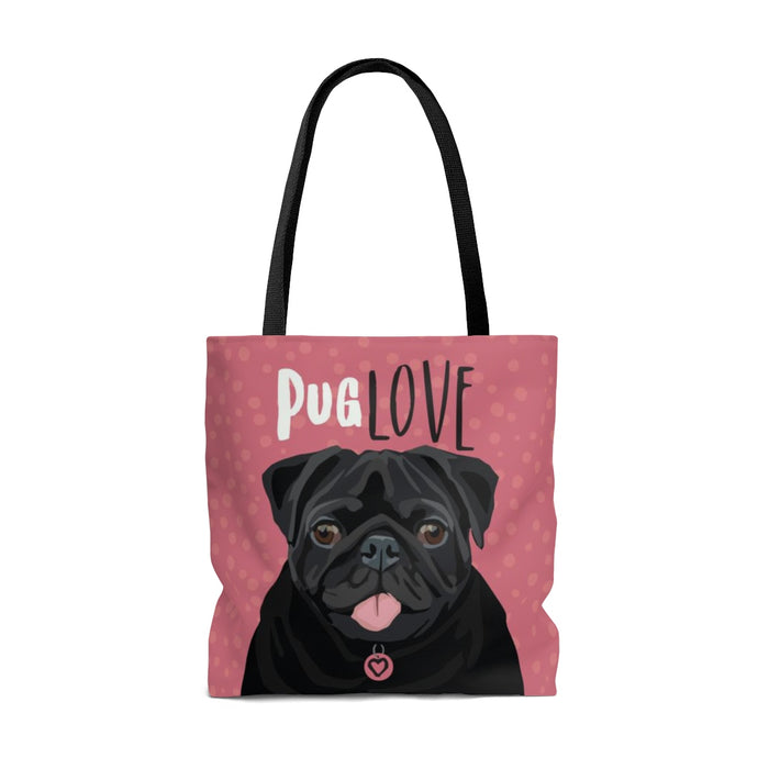 Pug (Black Dog) Tote Bag