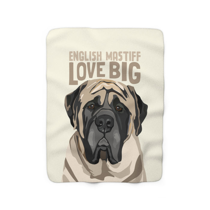 English Mastiff Love Big Sherpa Fleece Blanket