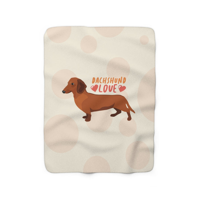 Dachshund Love (red) Sherpa Fleece Blanket