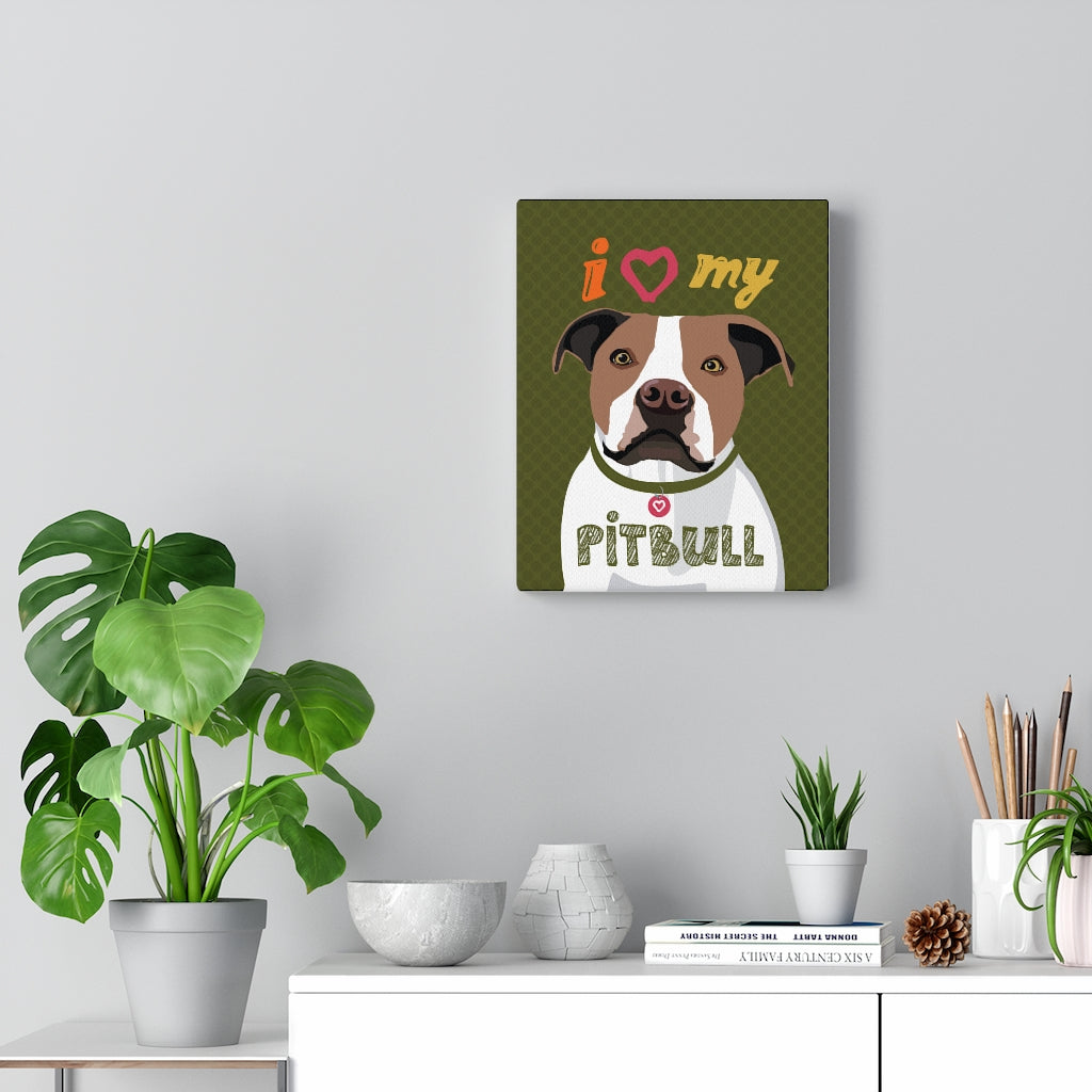 Pit Bull (Brown & White) Canvas Gallery Wrap