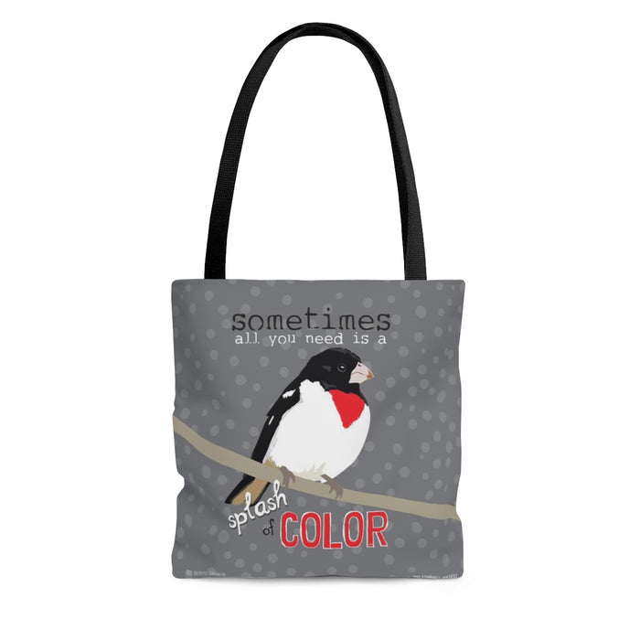 Sometimes All You Need is a Splash of Color (Red Breasted Grosbeak) Tote Bag