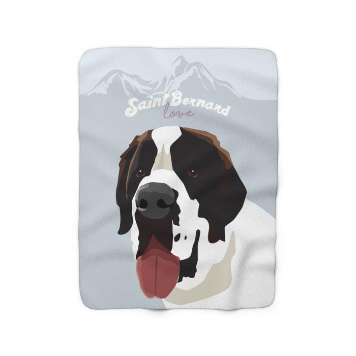 Saint Bernard Love Sherpa Fleece Blanket