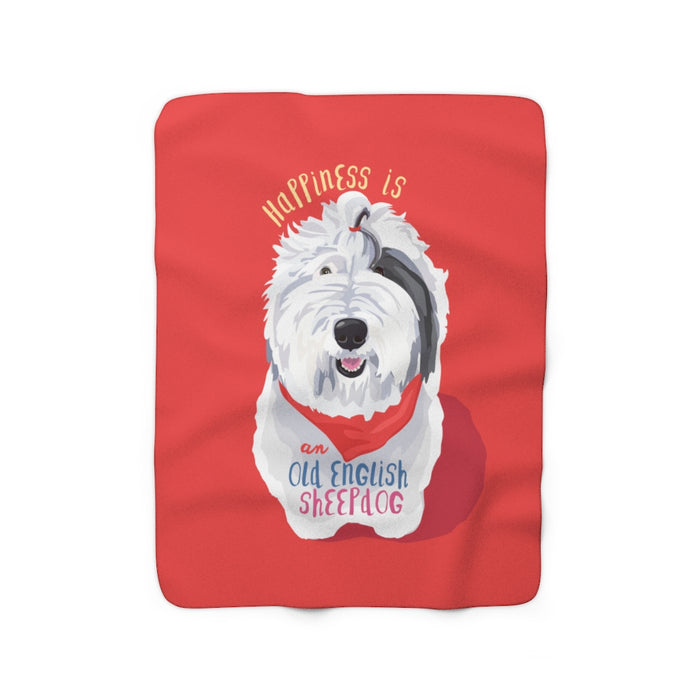 Old English Sheepdog Sherpa Fleece Blanket