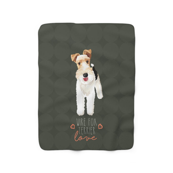 Wire Fox Terrier Love Sherpa Fleece Blanket