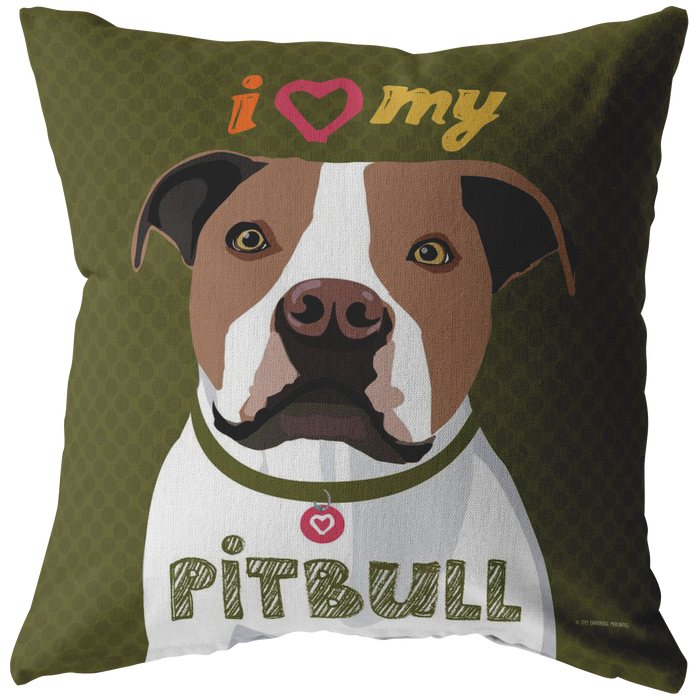 Pit Bull (Brown & White) Pillow