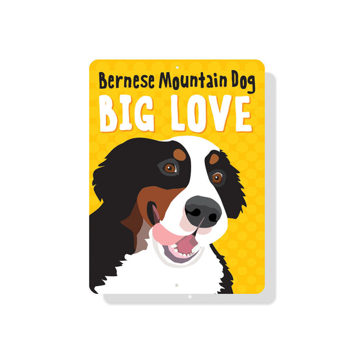 "Bernese Mountain Dog - Big Love sign 9"" x 12""  -  Yellow"