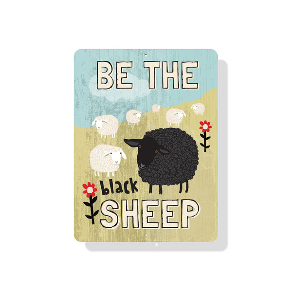 "Be The Black Sheep sign 9"" x 12"" - Mineral Blue"