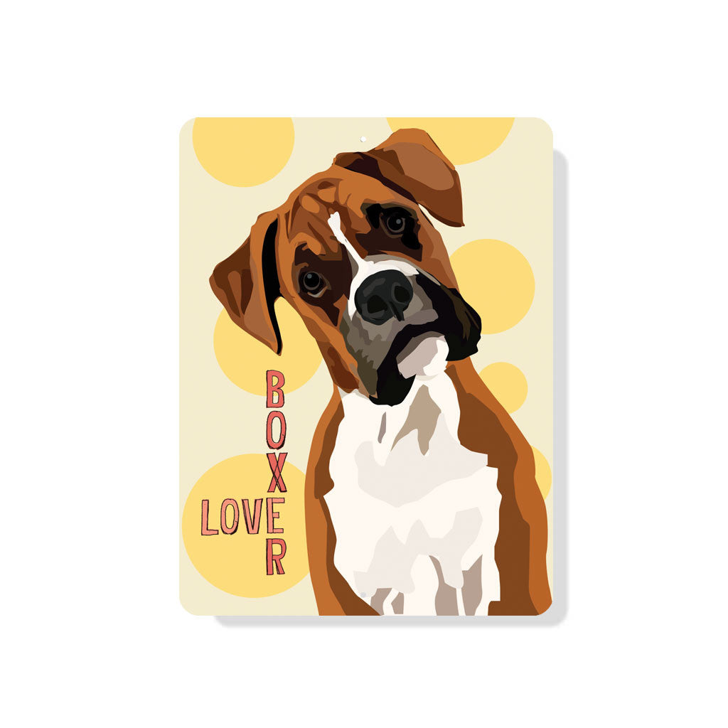 "Boxer Love sign - 9"" x 12"" - Yellow"