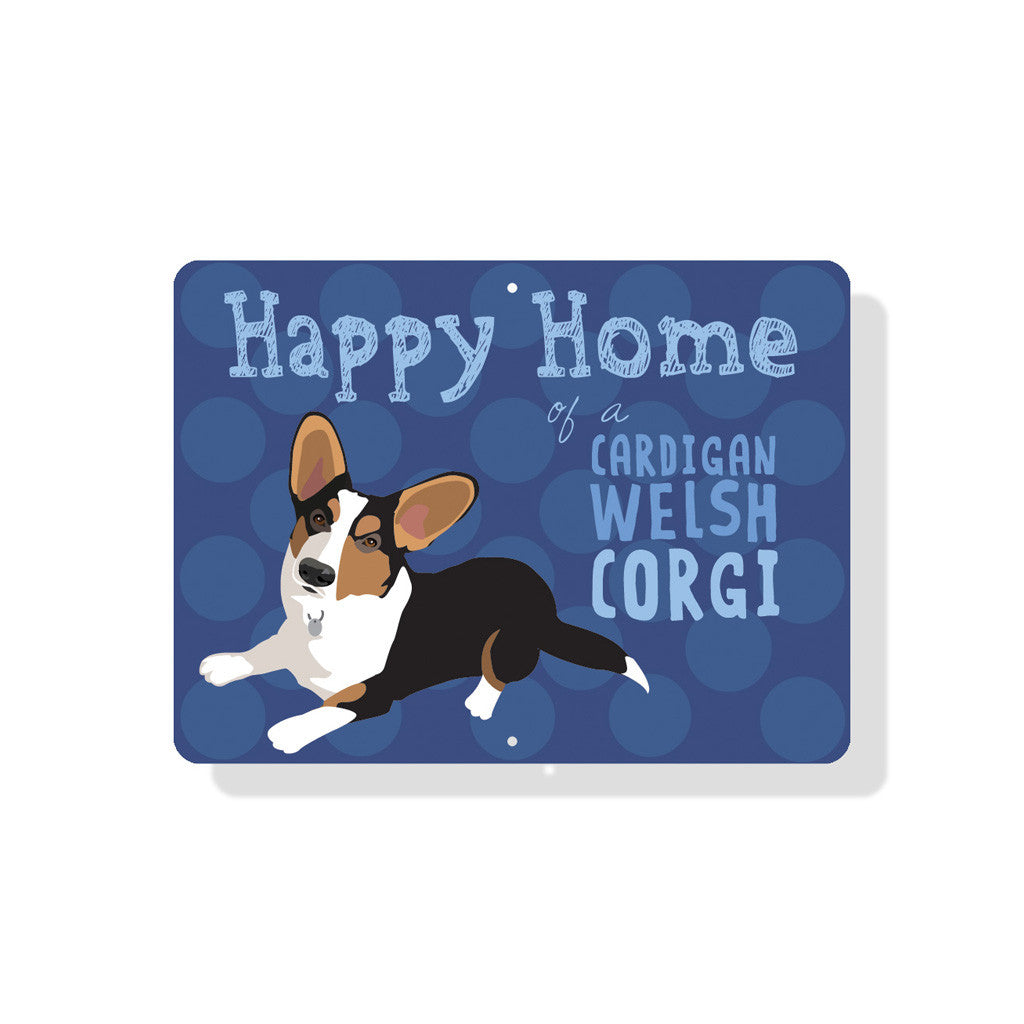 "Happy Home of a Corgi (Cardigan) 12"" x 9"" Blue"