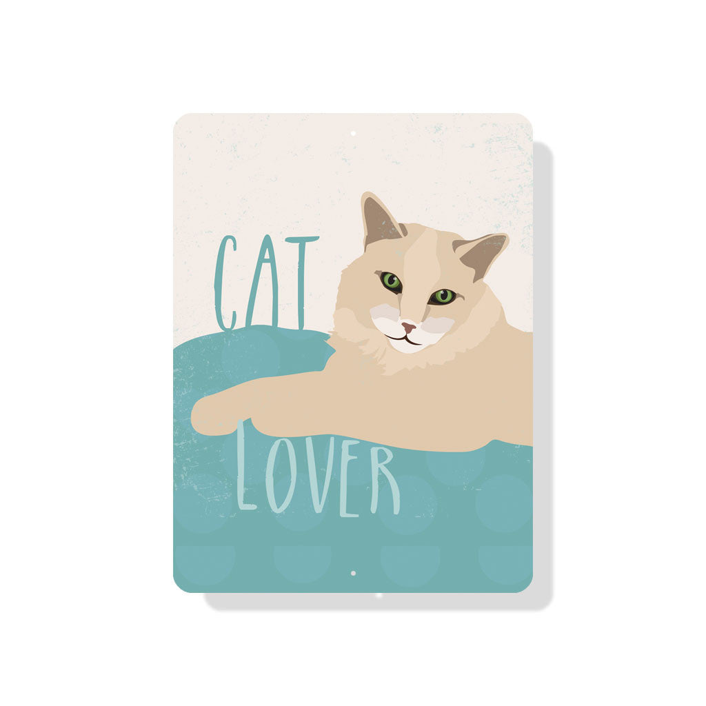 "Cat Lover sign 9"" x 12""  -  Cream"