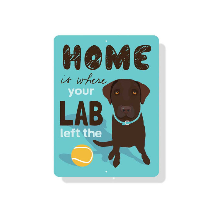 "Home is Where Your Chocolate Lab Left The Ball 9"" x 12"" Beach Blue"