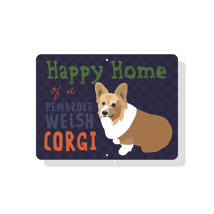 "Happy Home of a Corgi Sign 12"" x 9"" Eggplant"