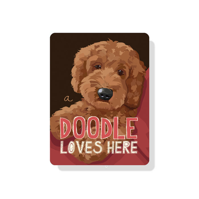 "A Doodle Loves Here sign 9"" x 12"" - Apricot Dog"