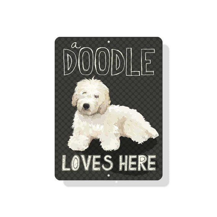 "A Doodle Loves Here sign 9"" x 12""  -  Cream Dog"