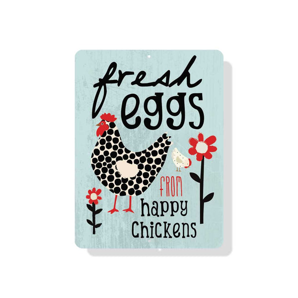 "Fresh Eggs From Happy Chickens sign 9"" x 12"" - Mineral Blue"