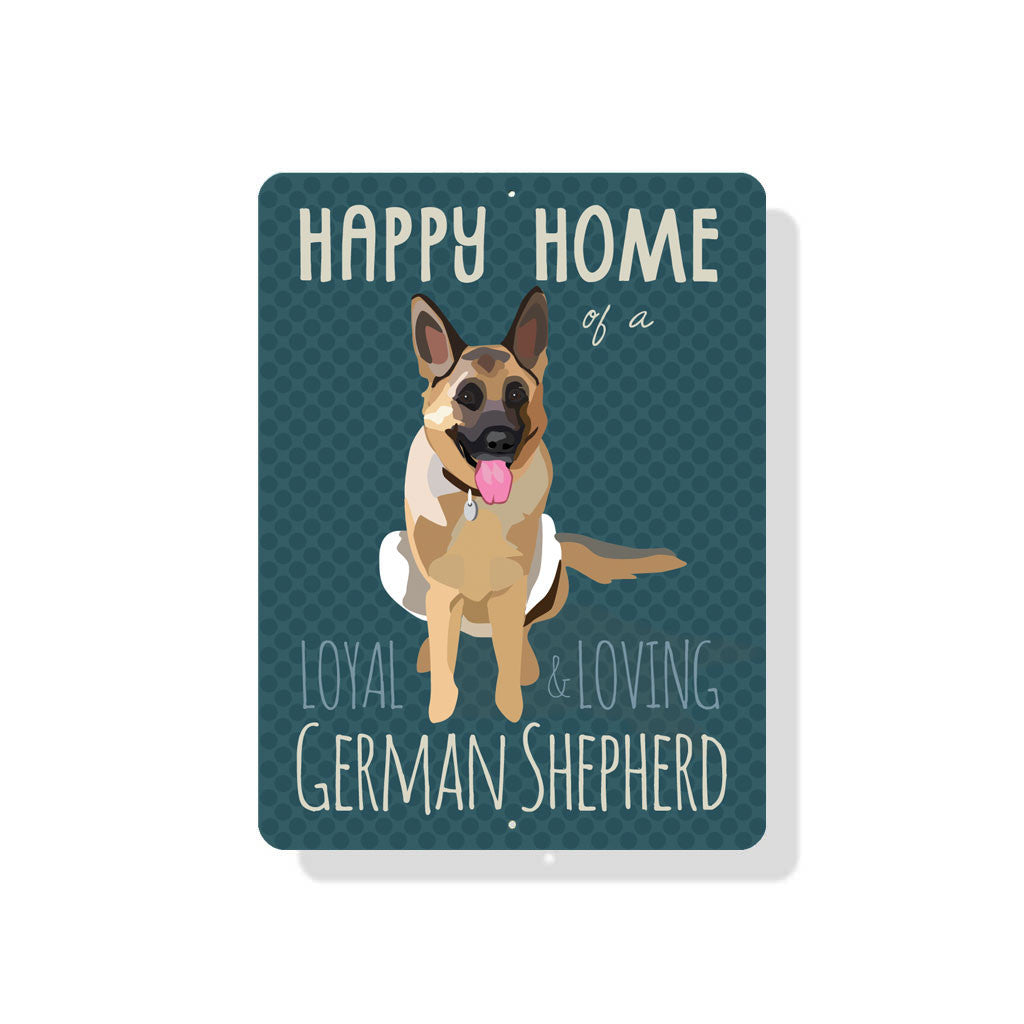 "Happy Home of a German Shepherd sign 9"" x 12""  -  Clay"