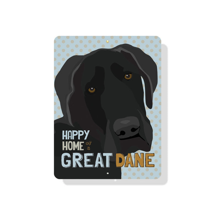 "Happy Home of a Great Dane sign  9"" x 12"" Blue"