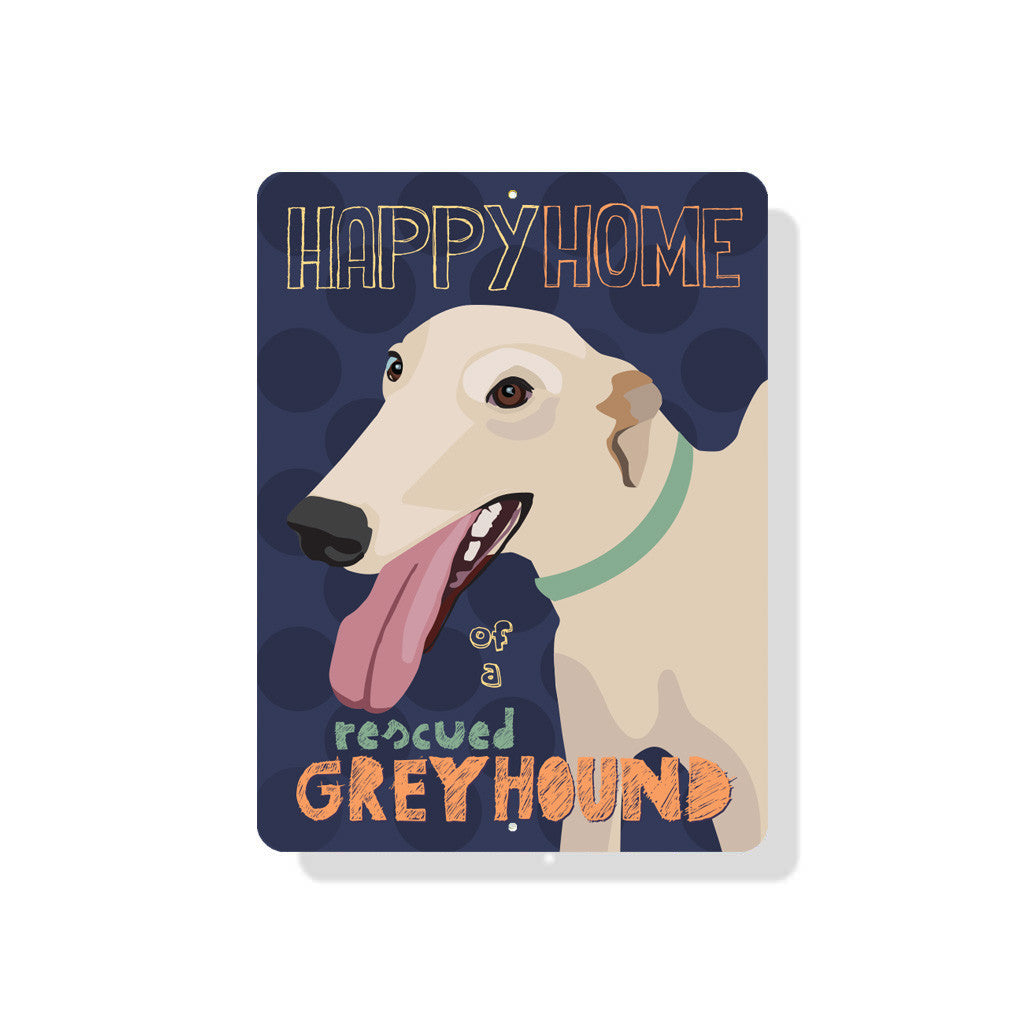 "Happy Home of a Rescued Greyhound sign  9"" x 12"" Eggplant"