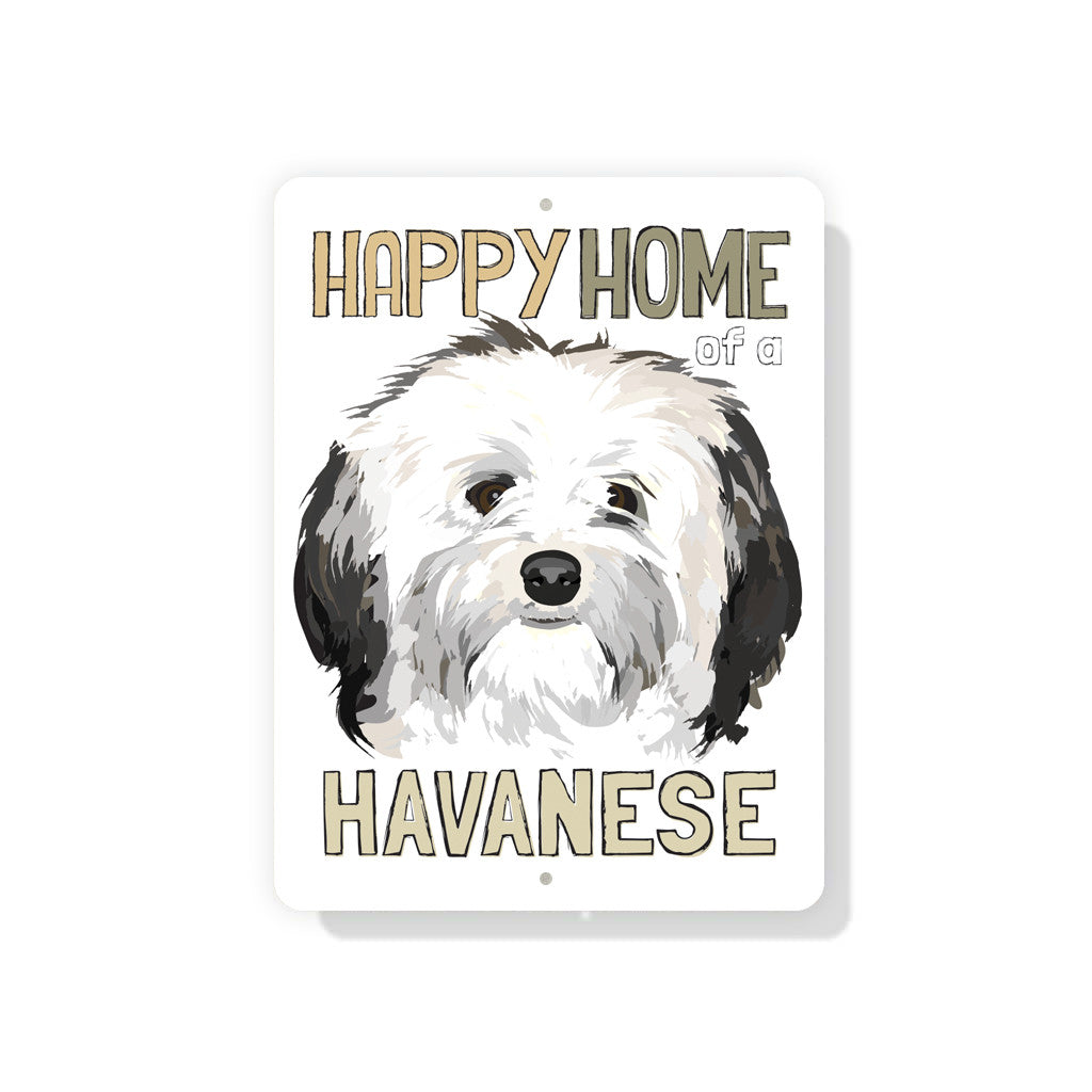 "Happy Home of a Havanese sign 9"" x 12"" - White"