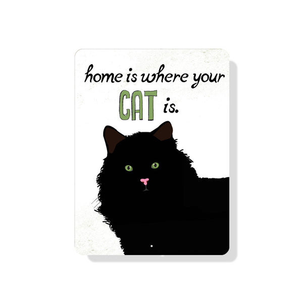 "Home is Where Your Cat is sign 9"" x 12""  -  Cream"