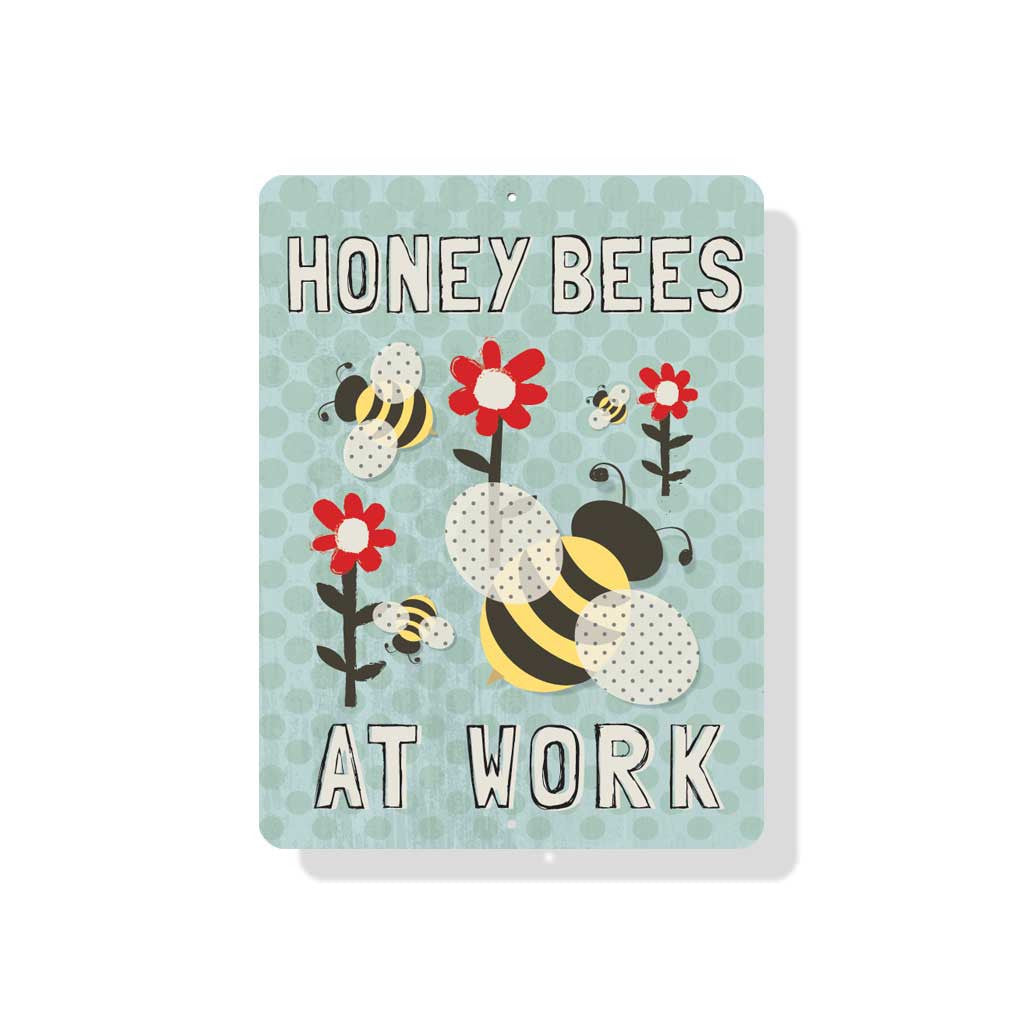 "Honey Bees at Work sign 9"" x 12"" - Mineral Blue"