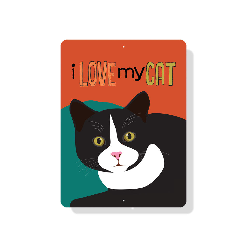 "I Love My Cat sign 9"" x 12""  -  Red"