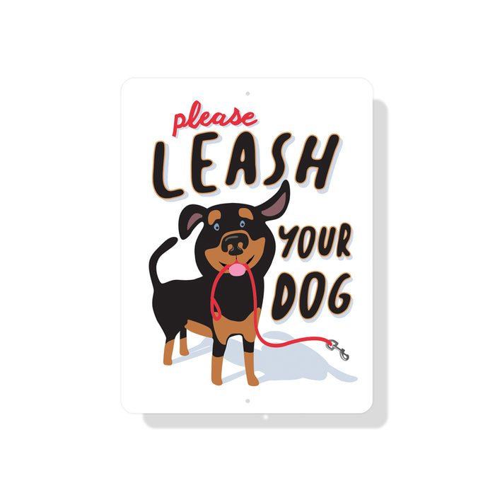 "Please Leash Your Dog sign - 9"" x 12"""