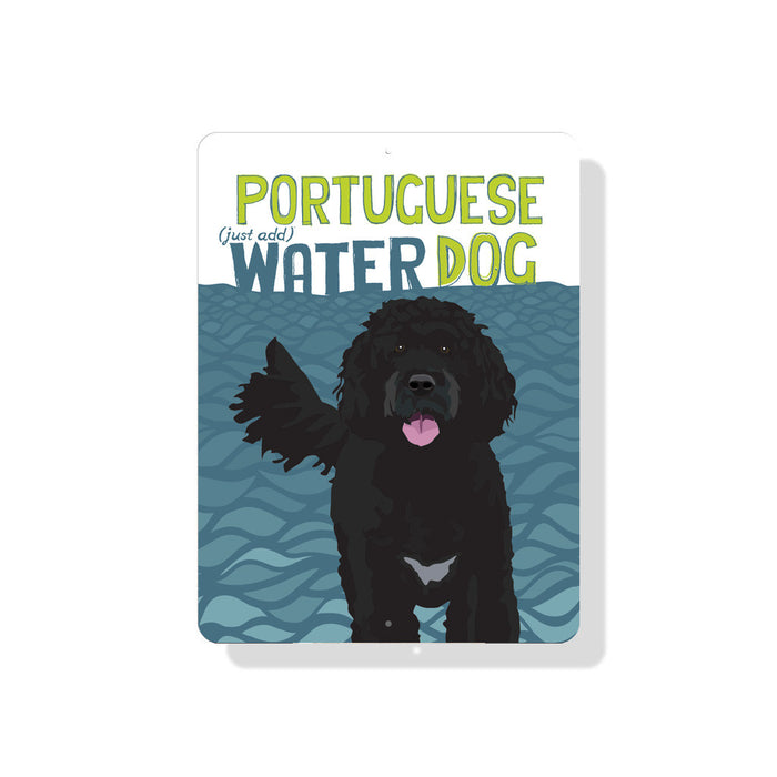 "Portuguese (Just Add) Water Dog Sign 9"" x 12"" - Blue"