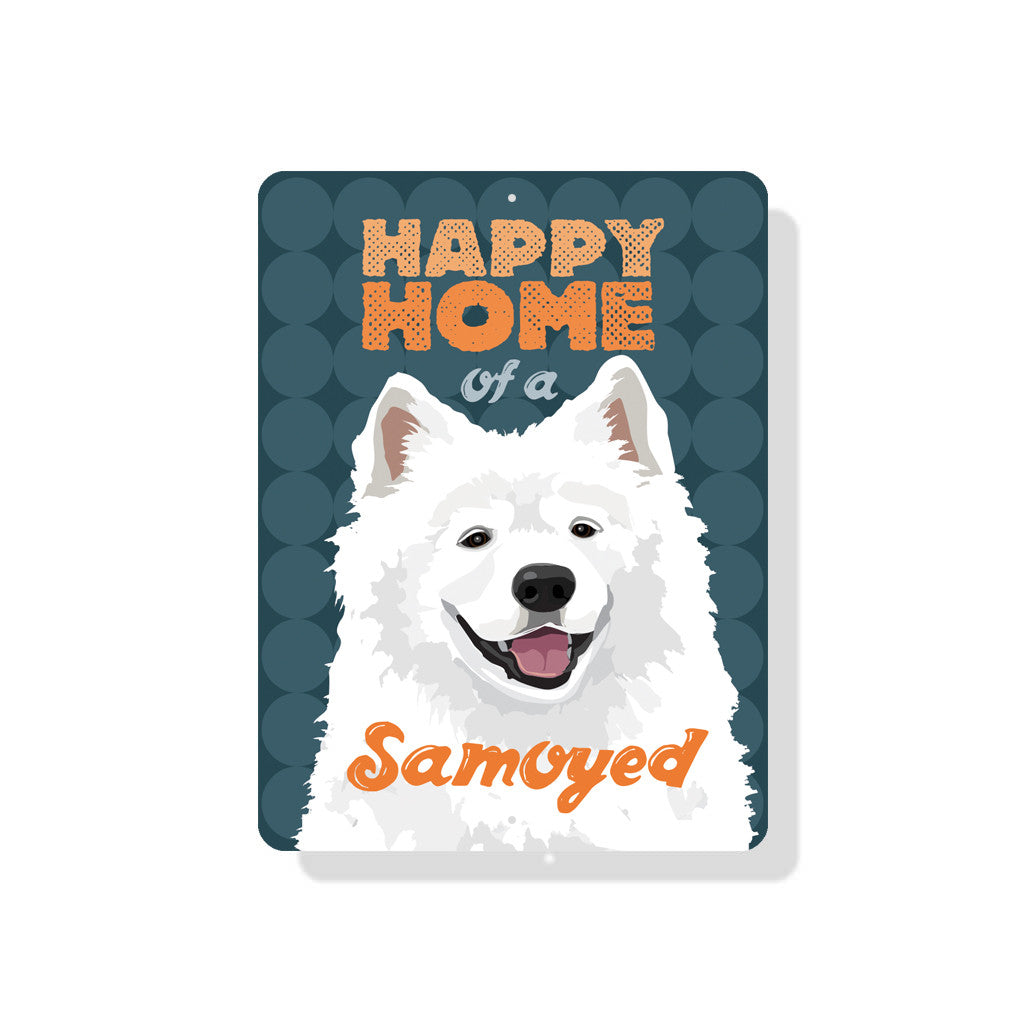 "Happy Home of a Samoyed sign 9"" x 12"" - Slate Blue"