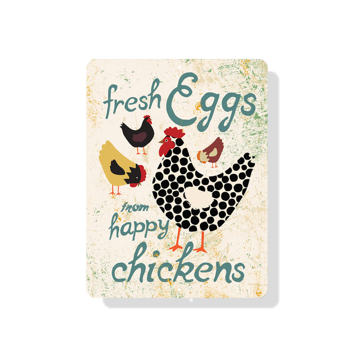 "Fresh Eggs From Happy Chickens Sign 9"" x 12"" - Seashell"