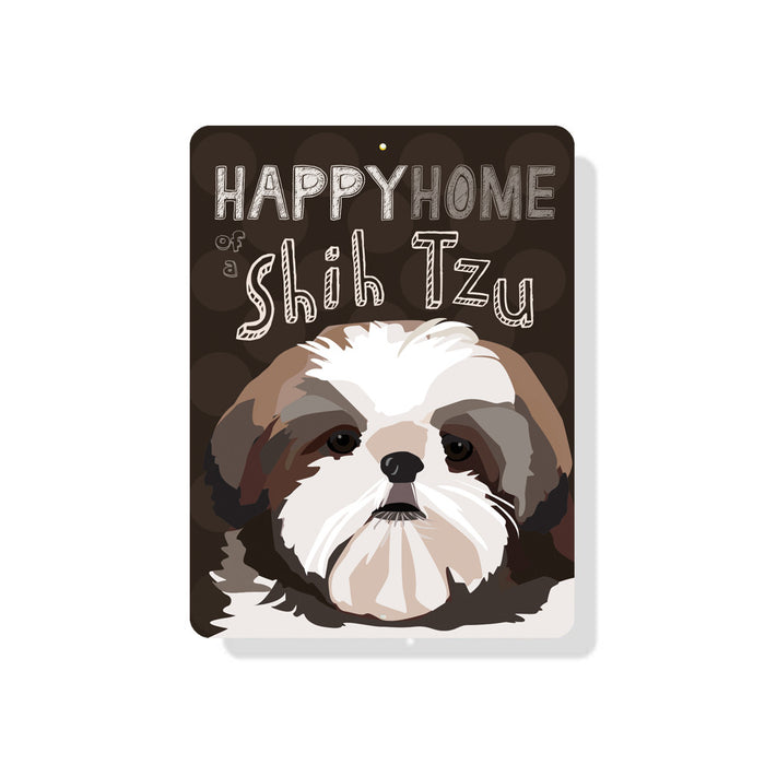 "Happy Home of a Shih Tzu sign 9"" x 12"" Chocolate"